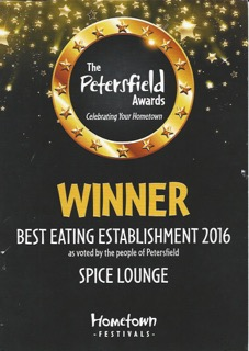 Spice Lounge Petersfield - Winner - Best Eating Establishment - Petersfield Awards