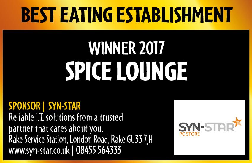 Best Eating Establishment Winner 2017 - Spice Lounge Petersfield Restaurants Petersfield Restaurant Petersfield Authentic Indian Cuisine Hampshire Takeaway