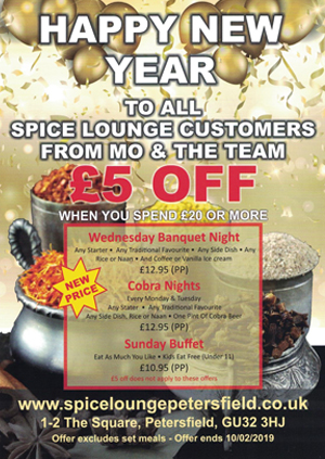 New Year Promotion 2018 Spice Lounge Petersfield Authentic Indian Cuisine Petersfield Hampshire - Indian Restaurtants Petersfield - Indian Restaurtant