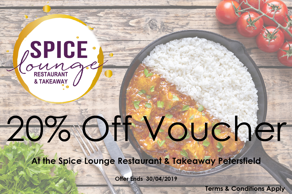 Spice Lounge Petersfield April 2019 Offer - Restaurants Petersfield - Authentic Indian Cuisine Hampshire - Free Local Delivery - Takeaway Menu - Set Menu - Weekly Offers
